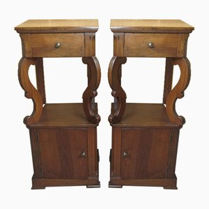 Antique Italian Walnut Nightstands, Set of 2