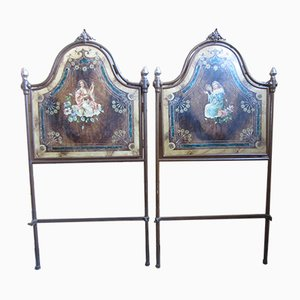 Antique Italian Painted Iron Sofas, Set of 2