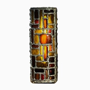 Brutalist Stained Glass Sculptural Table Lamp, 1960s