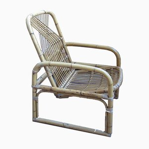 Vintage Straw Lounge Chair, 1970s
