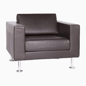 Brown Leather, Aluminum & Solid Wood Park Armchair by Jasper Morrison for Vitra