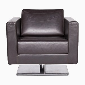 Brown Leather, Polished Aluminum & Solid Wood Park Armchair by Jasper Morrison for Vitra