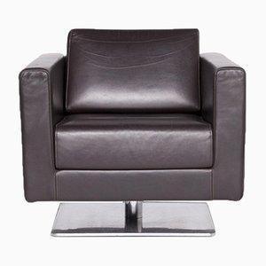 Park Sessel aus braunem Leder, poliertem Aluminium und Massivholz von Jasper Morrison für Vitra