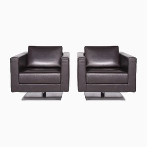 Brown Chocolate Leather, Polished Aluminum & Wood Swivel Armchairs by Jasper Morrison for Vitra, Set of 2