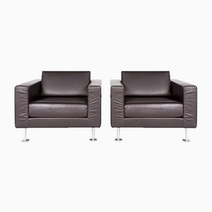 Brown Chocolate Leather, Polished Aluminum & Wood Swivel Armchairs by Jasper Morrison for Vitra, Set of 3