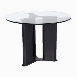 Leather and Glass Korium Dining Table by Tito Agnoli for Matteo Grassi