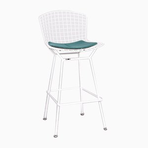 White and Turquoise Metal Barstool by Harry Bertoia for Knoll International