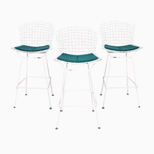 White and Turquoise Metal Armchairs by Harry Bertoia for Knoll International, Set of 3