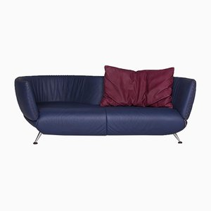 Blue Leather DS 102 3-Seat Sofa from de Sede