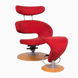 Red Peel Fabric Microfiber Armchair & Stool with Relax Function by Olav Eldøy for Stokke