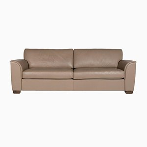 Cappuccino Brown Luana Leather 3-Seat Sofa from Bench
