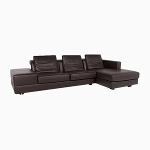 Dark Brown Leather Corner Sofa from WOH