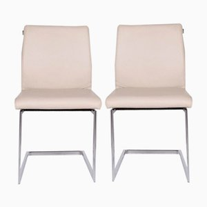 Cream Leather Cantilever Armchairs from Joop!, Set of 2