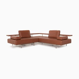 Cognac Leather Corner Sofa from Rolf Benz