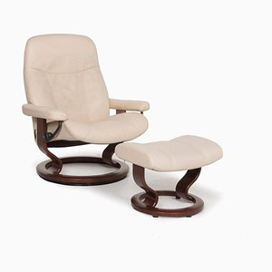 Cream Consul Leather Armchair & Stool with Relax Function by Kein Designer for Stressless