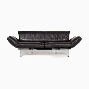 Black Leather DS 140 3-Seat Sofa with Relax Function from de Sede