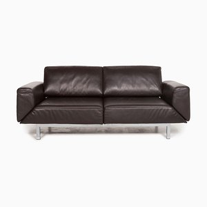 Dark Brown Leather 2-Seat Function Sofa from Mondo