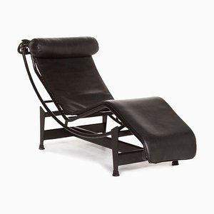 Black LC4 Lounger with Relax Function by Le Corbusier for Cassina