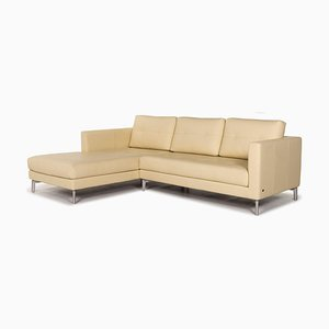 Light Yellow Leather Corner Sofa from Rolf Benz