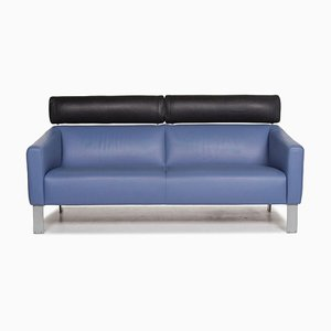 Blue Leather 2-Seat Function Sofa from Leolux
