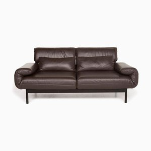 Dark Brown Plura Leather 2-Seat Sofa with Function from Rolf Benz