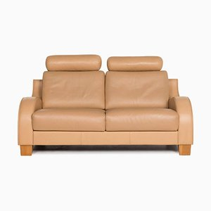 Beige Leather 2-Seat Function Sofa by Volker Laprell for de Sede