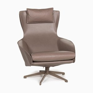 Cab 423 Brown and Grey Leather Armchair from Cassina