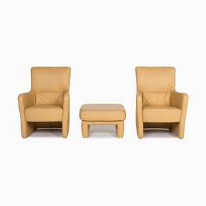 Yellow Leather Armchair & Stool from Koinor, Set of 3