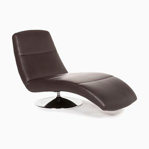 Dark Brown Leather Lounger with Relax Function from Ewald Schillig