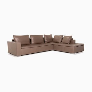 Brown and Grey Mezzo Leather Corner Sofa from BoConcept