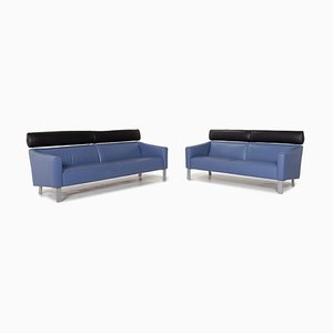 Blue Leather Sofas from Leolux, Set of 2