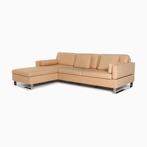 Beige Leather Corner Function Sofa from Brühl & Sippold