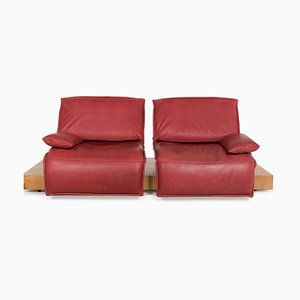 Red Free Motion Leather 2-Seat Sofa with Function from Koinor