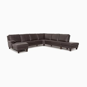 Dark Brown Leather Corner Sofa from Willi Schillig