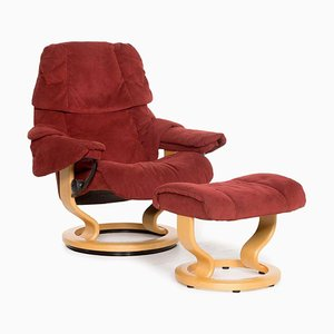 Red Reno Alcantara Armchair & Stool with Relax Function from Stressless