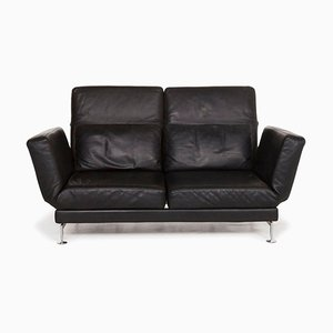 Black Moule Leather 2-Seat Sofa with Function by Roland Meyer-Brühl for Brühl & Sippold