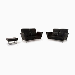 Black Moule Leather 2-Seat Sofa & Stool with Function by Roland Meyer-Brühl for Brühl & Sippold