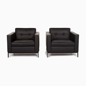 Black Foster Leather Armchairs from Walter Knoll, Set of 2