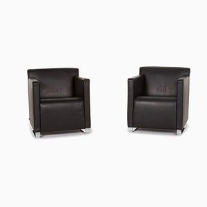 Black Quant Leather Armchairs from Cor, Set of 2