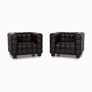 Black Kubus Leather Armchairs by Josef Hoffmann for Wittmann, Set of 2