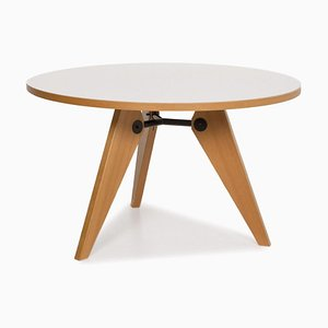 White Gueridon Prouve Wood Round Dining Table from Vitra