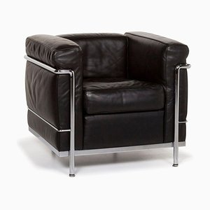 Black LC 2 Leather Armchair by Le Corbusier for Cassina