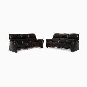 Black Leather 3-Seat Sofa Set with Function from Willi Schillig, Set of 2