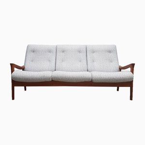 Mid-Century Danish Gray Fabric and Teak 3-Seater High Back Sofa from Vamdrup Stolefabrik, 1960s