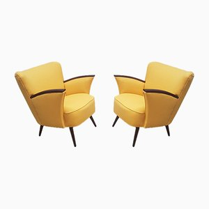 Mid-Century Yellow Wool Club Chairs, 1960s, Set of 2