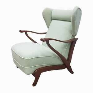 Art Deco Light Green Wool Wingback Reclining Armchair, 1940s