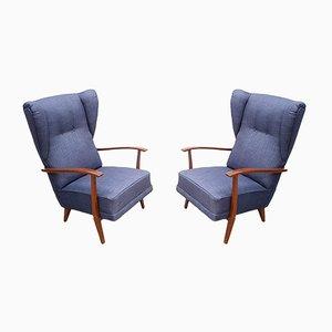 Marineblaue Sessel mit hoher Rückenlehne, 1950er, 2er Set