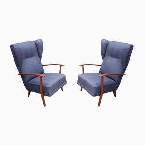 Navy Blue Tweed High Back Lounge Chairs, 1950s, Set of 2