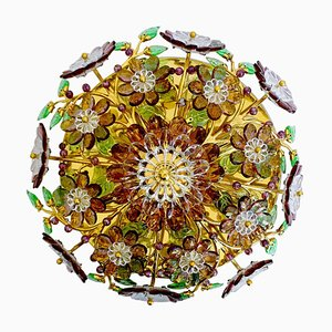 Lustre Gem Émeraude Vert Émeraude Floral Mid-Century de Palwa