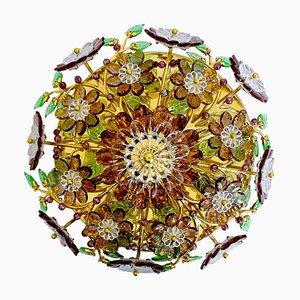 Vergoldeter Mid-Century Kronleuchter in Grün & Smaragdgrün mit Jewl Blumen von Palwa